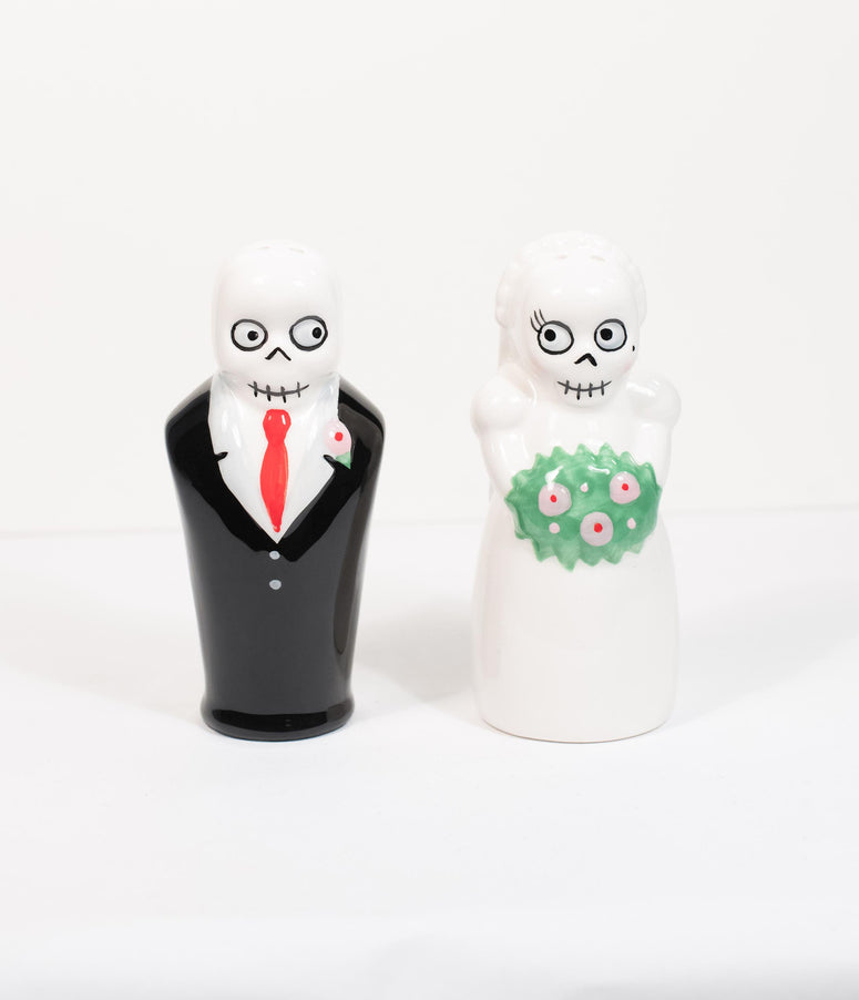 Newlydead Ceramic Bride & Groom Salt & Pepper Shakers