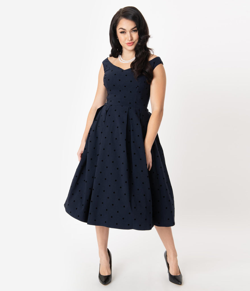 Collectif 1950s Navy Polka Dot Princess Liz Swing Dress