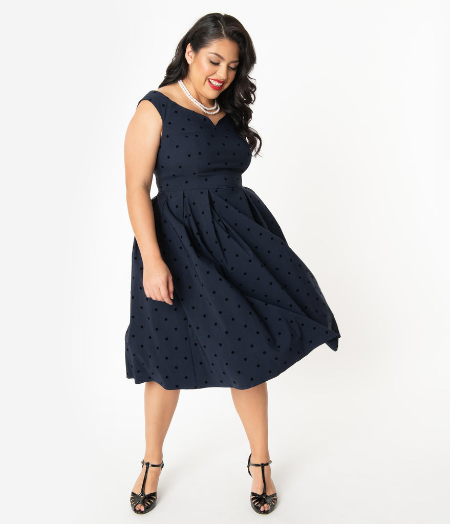 Collectif Plus Size 1950s Navy Polka Dot Princess Liz Swing Dress
