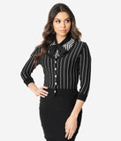 Elhoffer Design Black Pinstripe Nightmare Knit Crop Cardigan