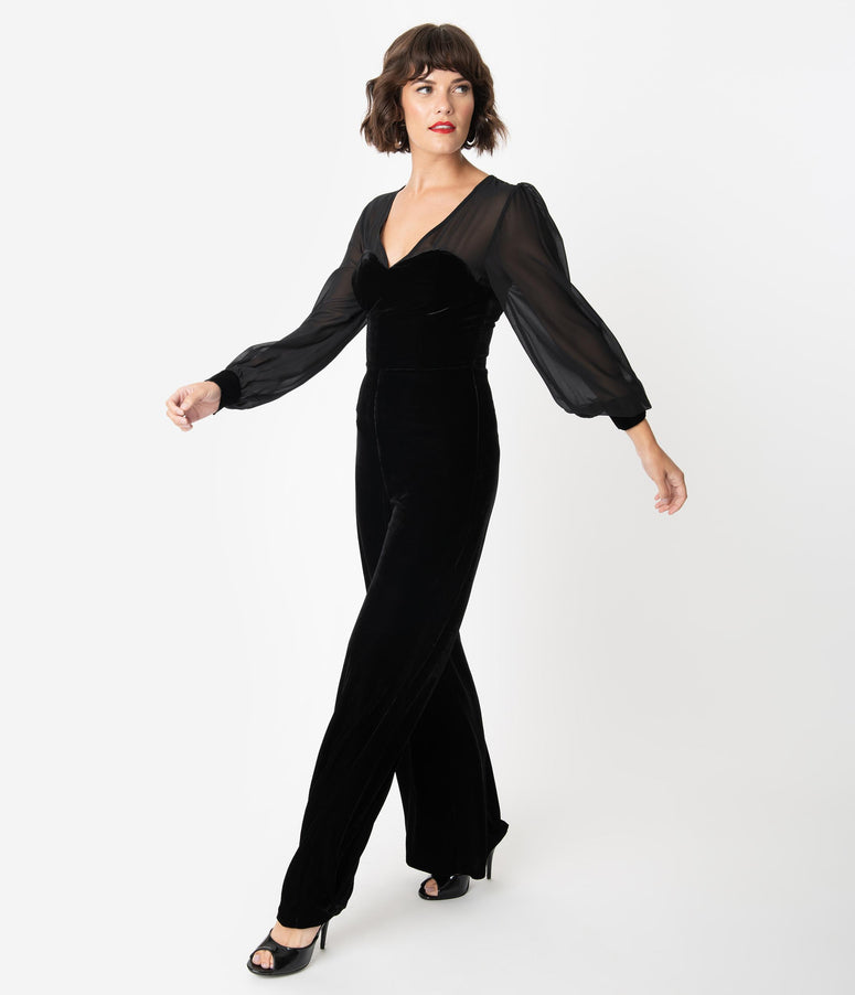 Collectif Black Velvet Long Sleeve Arionna Jumpsuit