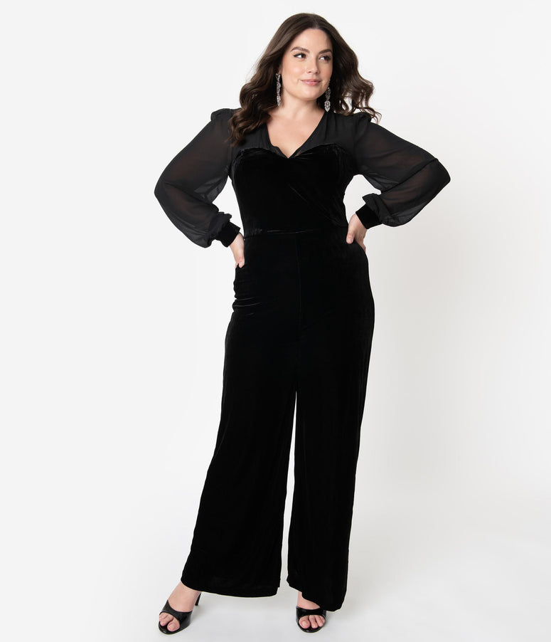 Collectif Plus Size Black Velvet Long Sleeve Arionna Jumpsuit