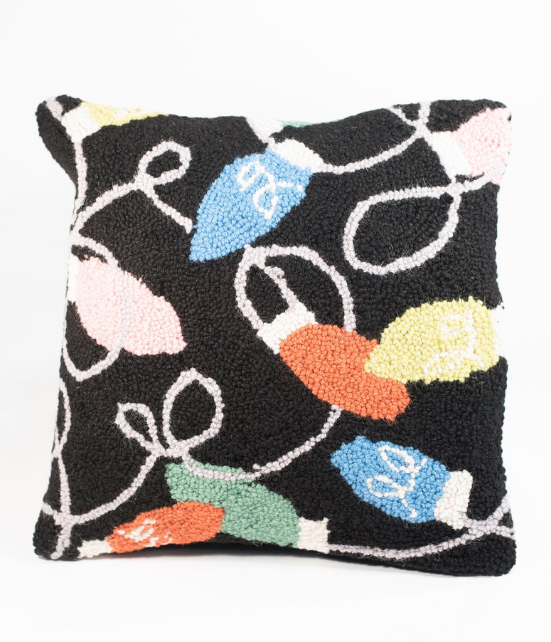 Holiday Lights Hook Wool Pillow