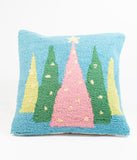 Christmas Trees Hook Wool Pillow
