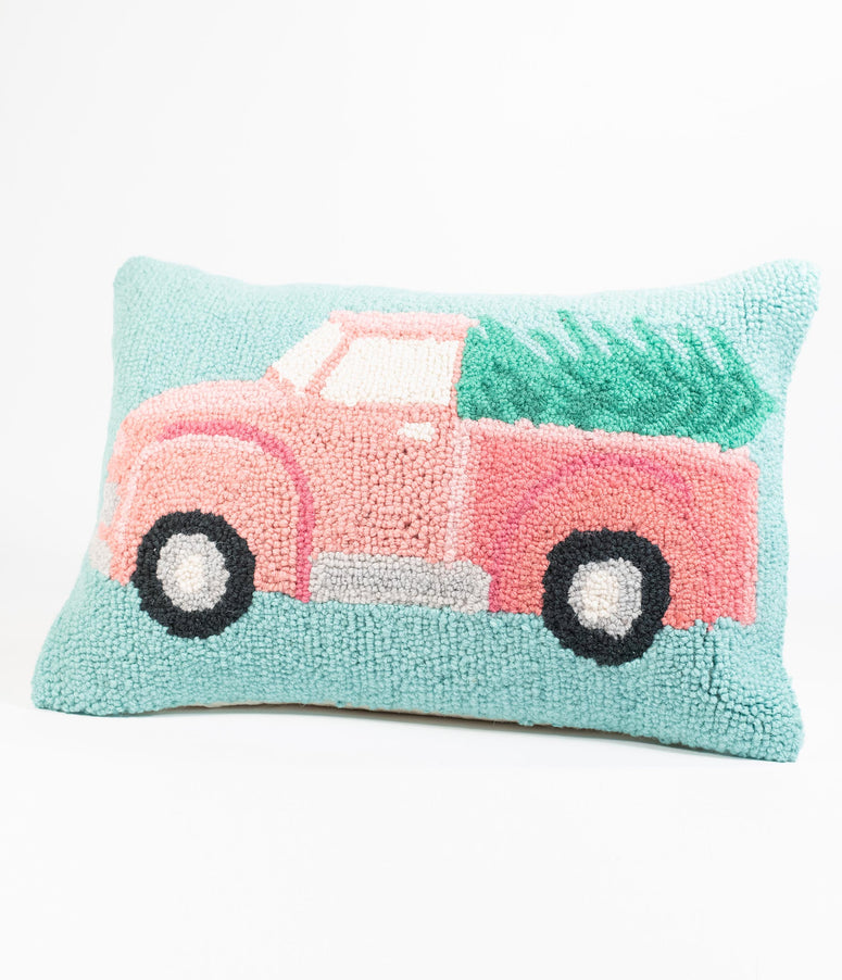 Christmas Truck Hook Wool Pillow
