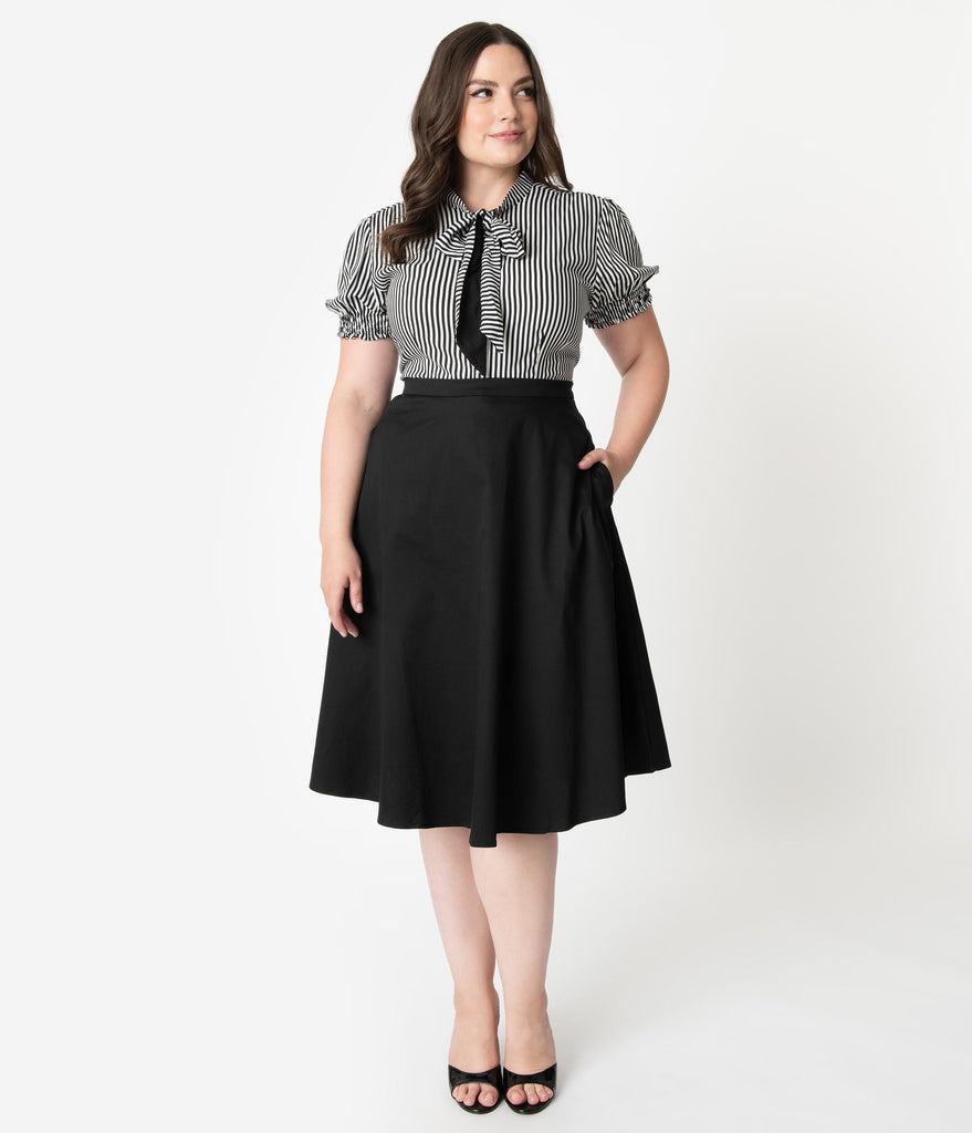 Collectif Plus Size 1950s Style Black Classic Cassie High Waist Swing Skirt