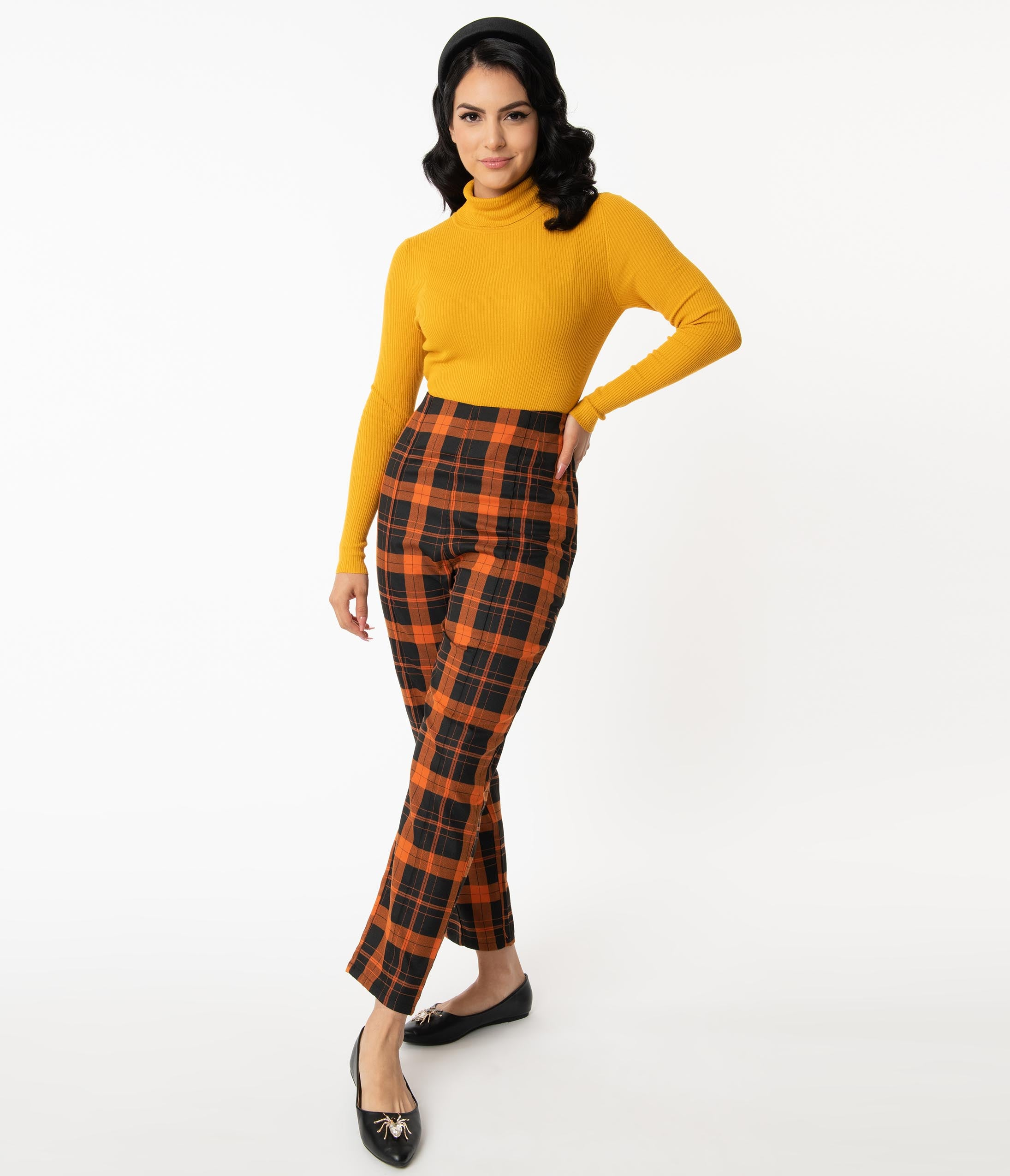 1950s Style Clothing & Fashion Collectif Orange  Black Pumpkin Plaid Bonnie Pants $58.00 AT vintagedancer.com