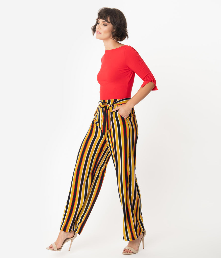 Retro Style Mustard & Black Striped Wide Leg Pants