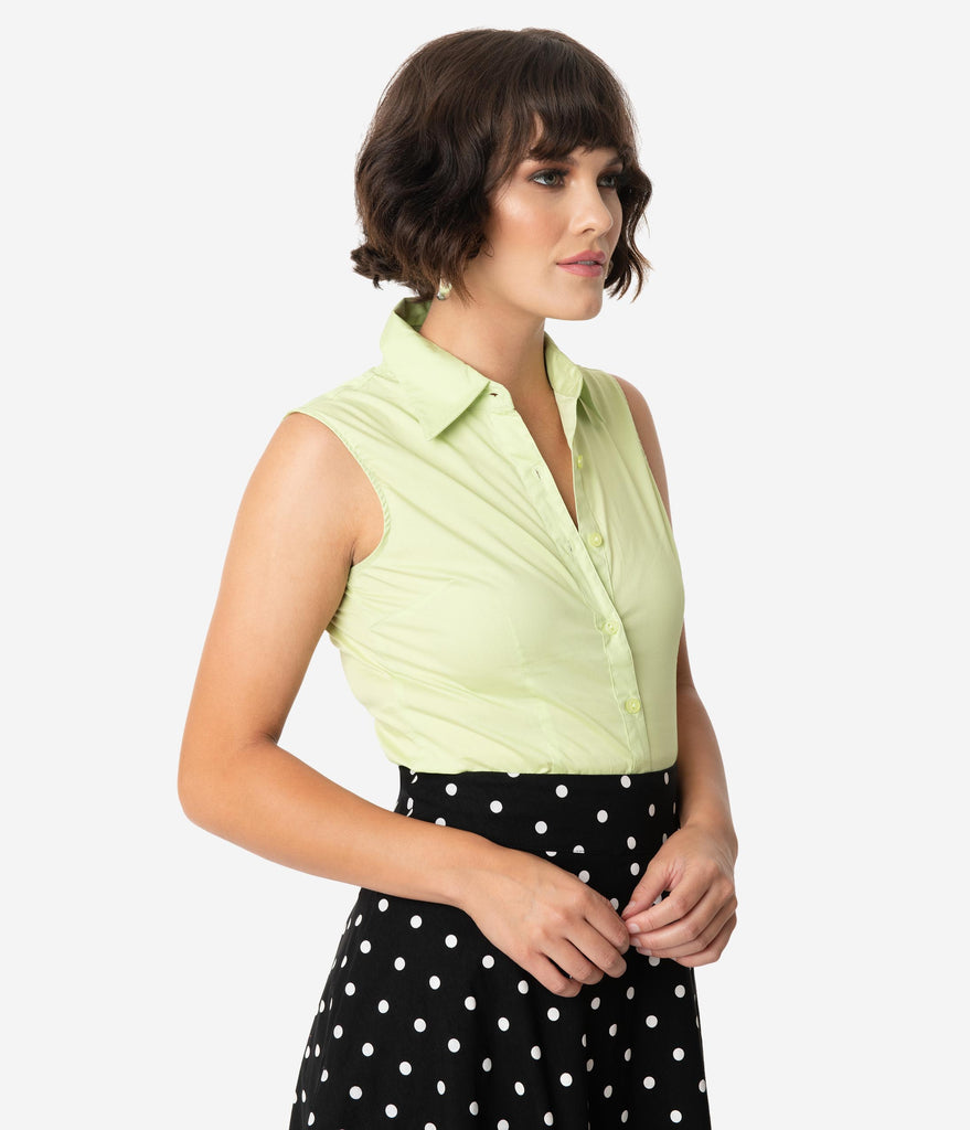 Lime Green Sleeveless Collared Cotton Button Up Blouse