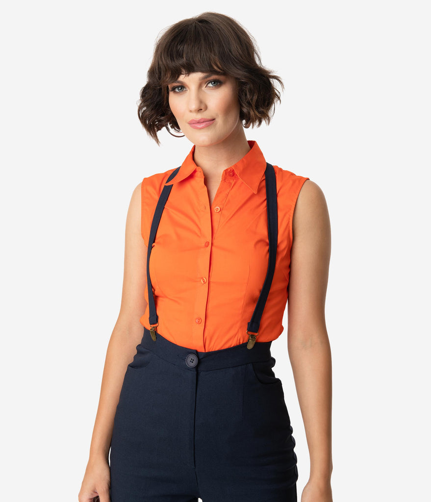 Bright Orange Sleeveless Collared Cotton Button Up Blouse