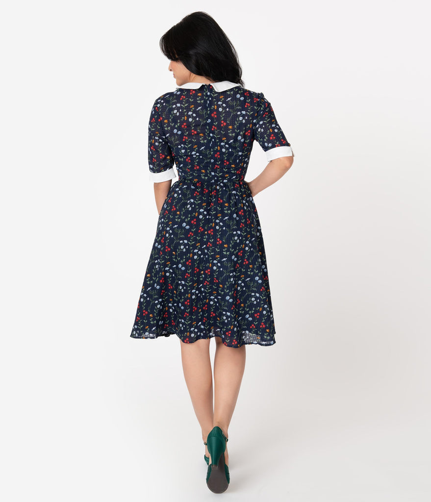 Unique Vintage 1950s Style Navy Floral Francine Swing Dress