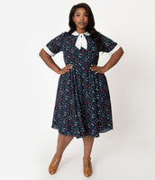 Plus Size Elbow Length Sleeves Swing-Skirt Collared Round Neck Fitted Vintage Mesh Gathered Back Zipper Pocketed Checkered Floral Gingham Print Dress With a Bow(s)
