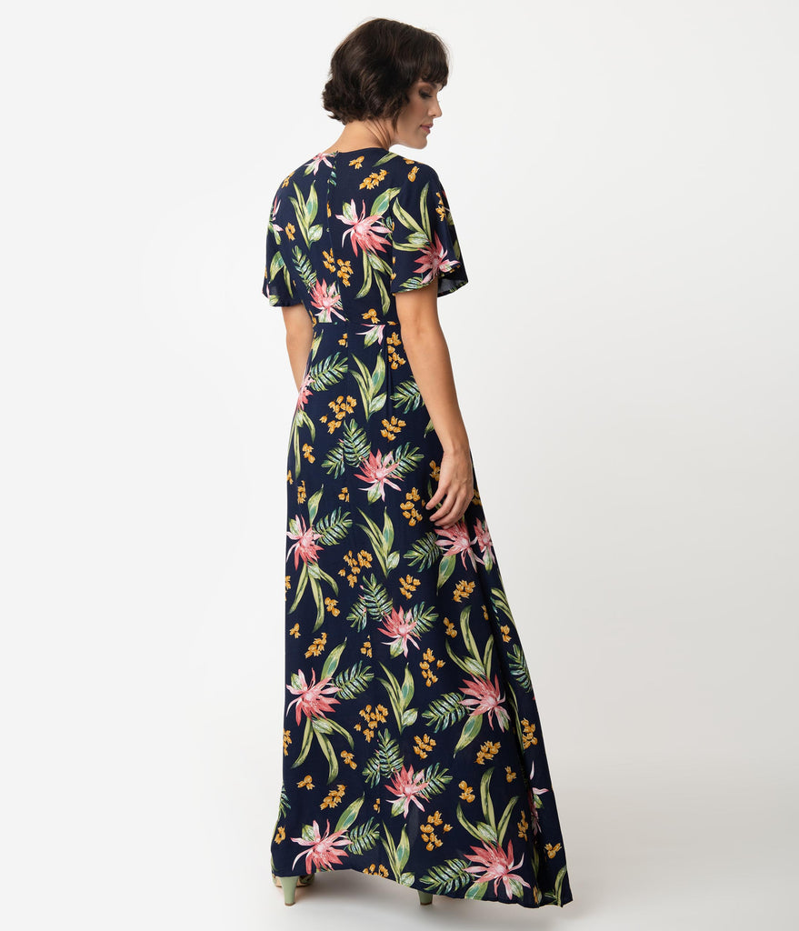 1970 Style Navy Blue & Pink Tropical Floral Short Sleeve Maxi Dress
