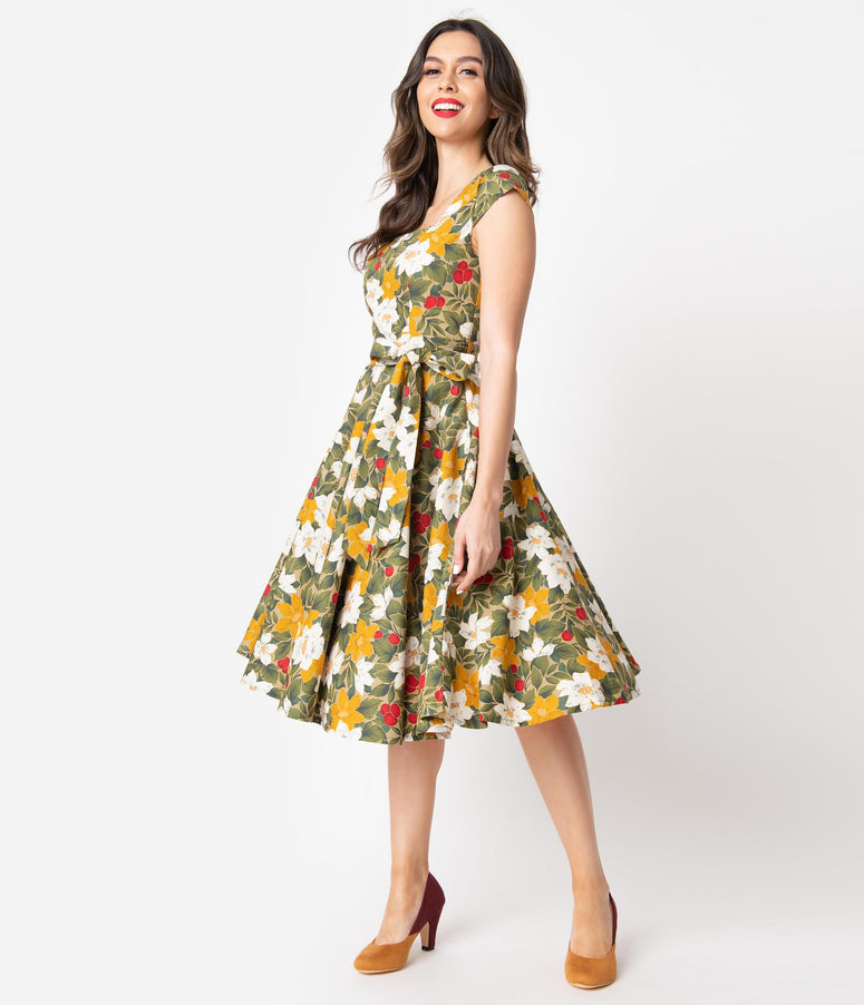 Retro Style Olive & Mustard Fall Floral Print Anna Cap Sleeve Swing Dress