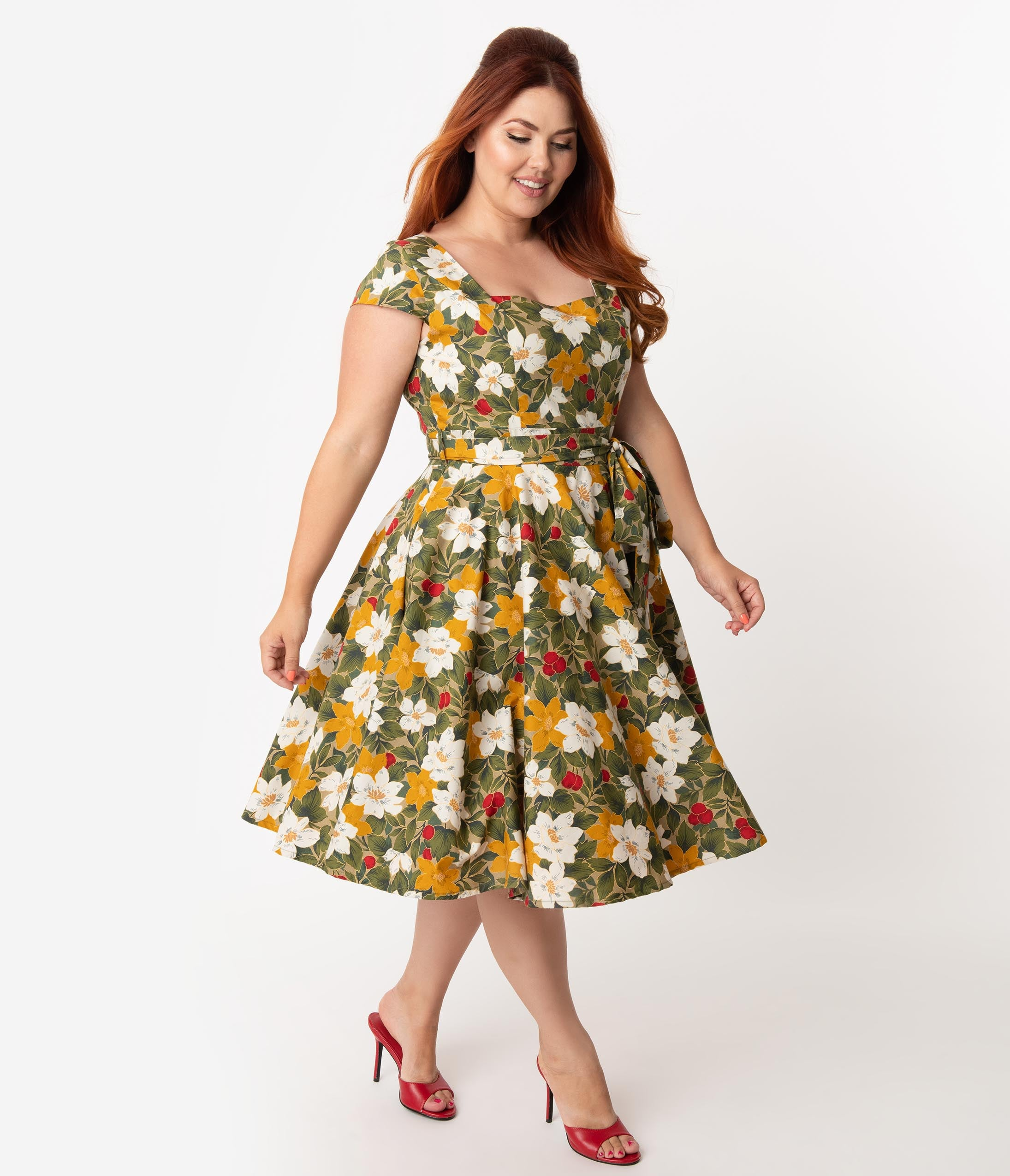 Vintage Style Maternity Clothes Plus Size Retro Style Olive  Mustard Fall Floral Print Anna Cap Sleeve Swing Dress $78.00 AT vintagedancer.com