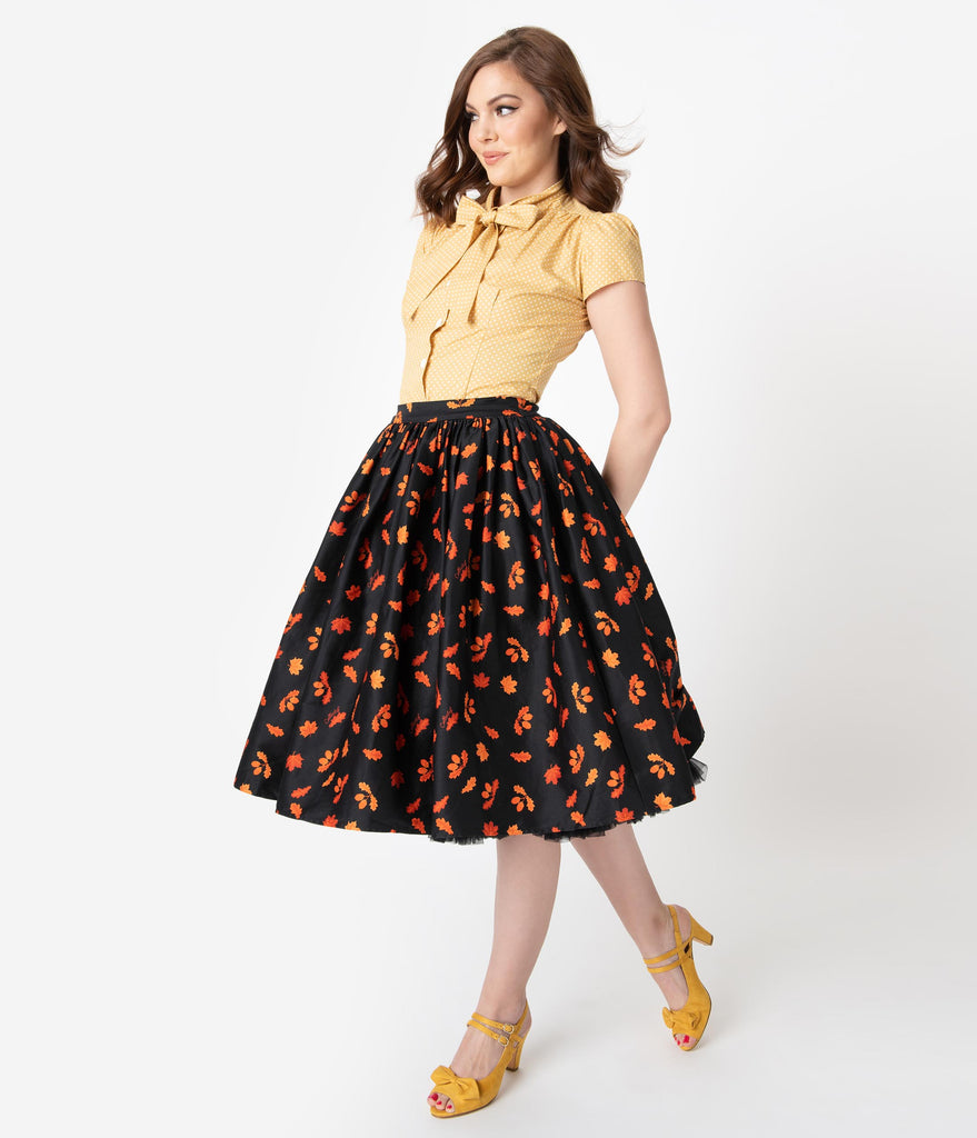 Collectif 1950s Style Black & Orange Acorn Print Jasmine Swing Skirt