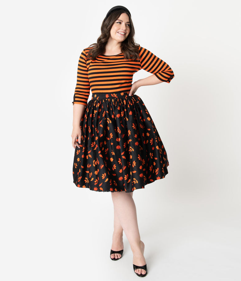Collectif Plus Size 1950s Style Black & Orange Acorn Print Jasmine Swing Skirt