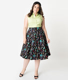 Collectif Plus Size 1950s Style Black & Wonderland Print Matilde Swing Skirt