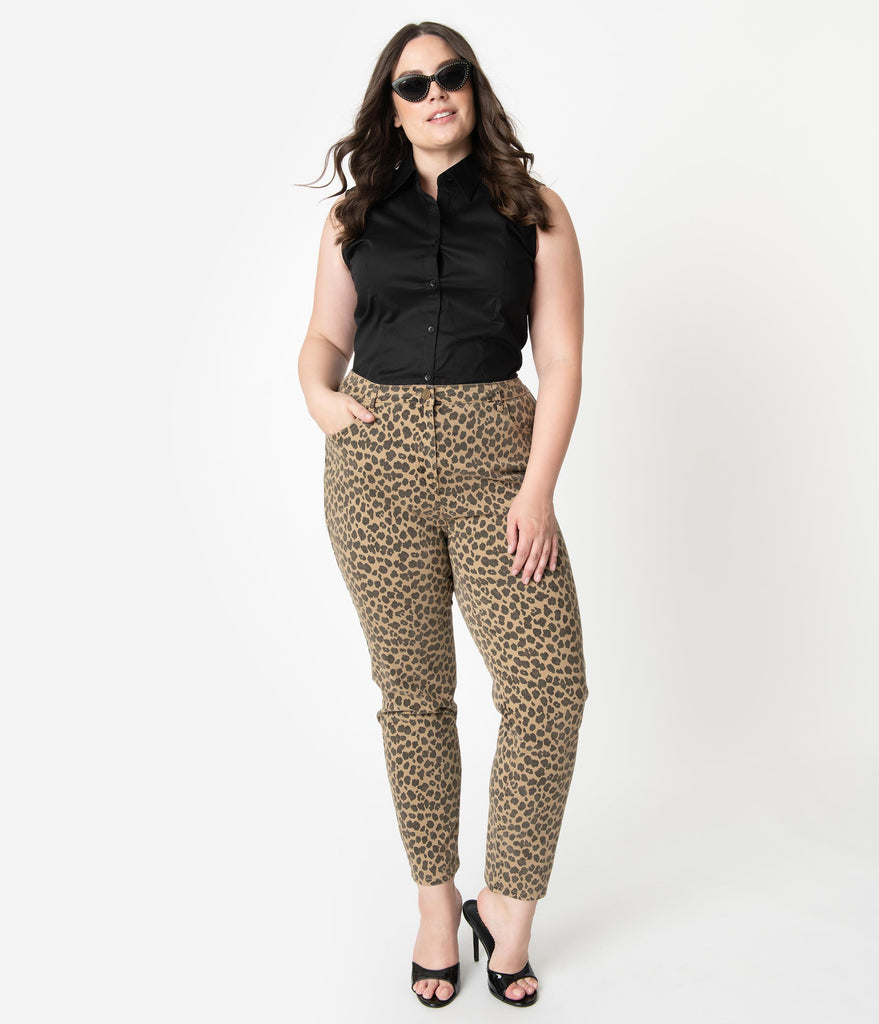 Collectif Plus Size 1950s Style Denim Leopard Print Maddy Skinny Pants