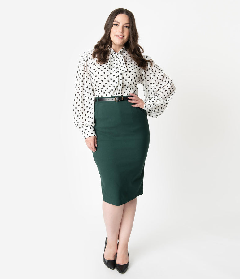 Collectif Plus Size 1960s Style Emerald Green Belted Dianne Pencil Skirt