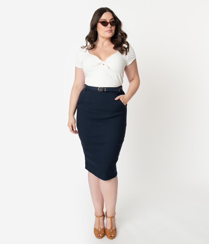 Collectif Plus Size 1960s Style Navy Blue Belted Dianne Pencil Skirt