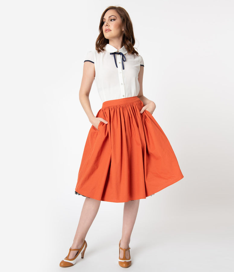 Collectif 1950s Style Burnt Orange Jasmine Swing Skirt