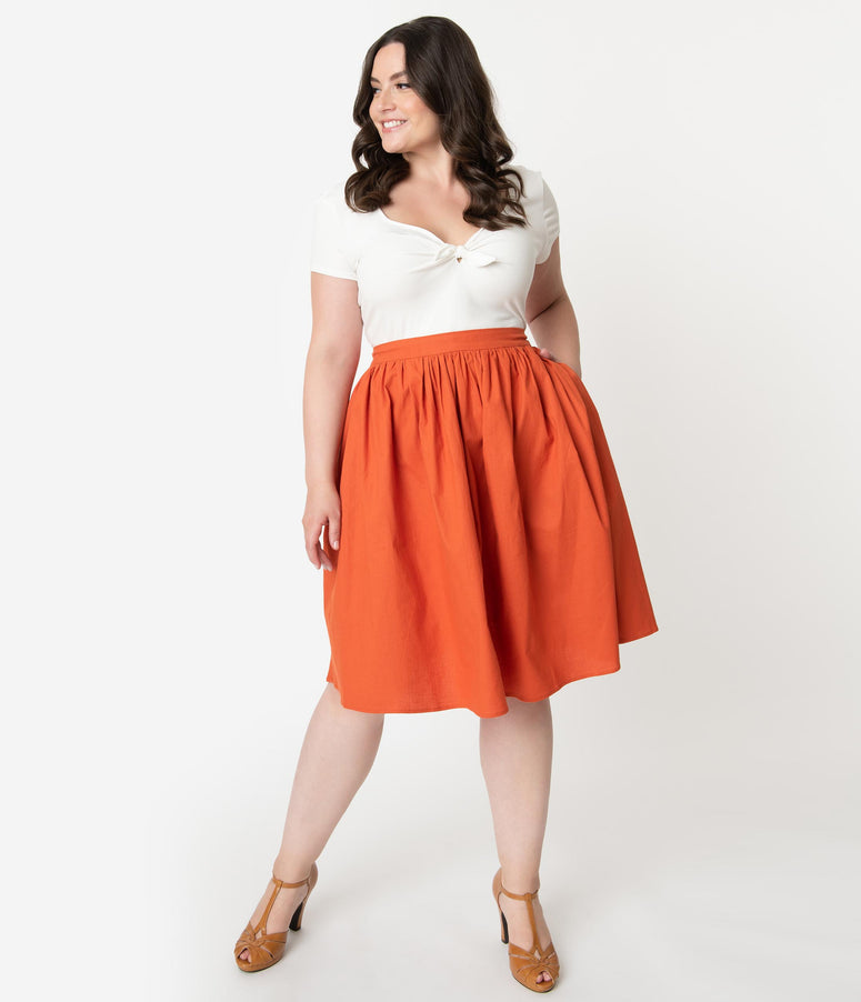 Collectif Plus Size 1950s Style Burnt Orange Jasmine Swing Skirt