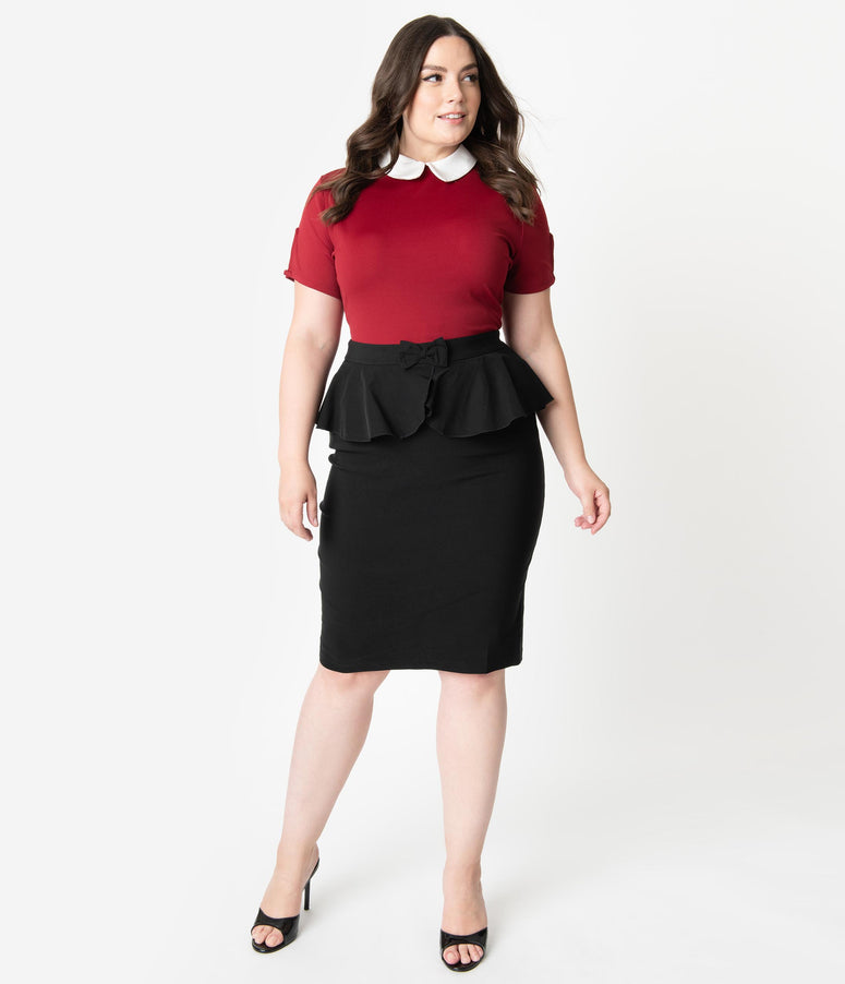 Collectif Plus Size 1960s Style Black Peplum Pepper Pencil Skirt