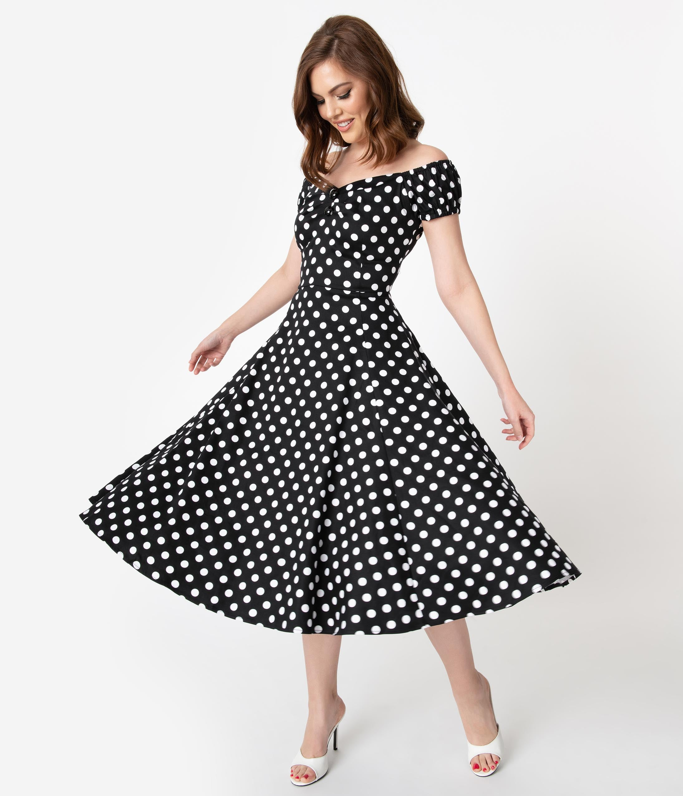 Rockabilly Dresses | Rockabilly Clothing | Viva Las Vegas Collectif 1950S Style Black  White Polka Dot Dolores Swing Dress $68.00 AT vintagedancer.com