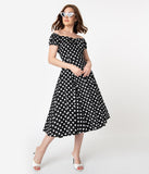 Collectif 1950s Style Black & White Polka Dot Dolores Swing Dress
