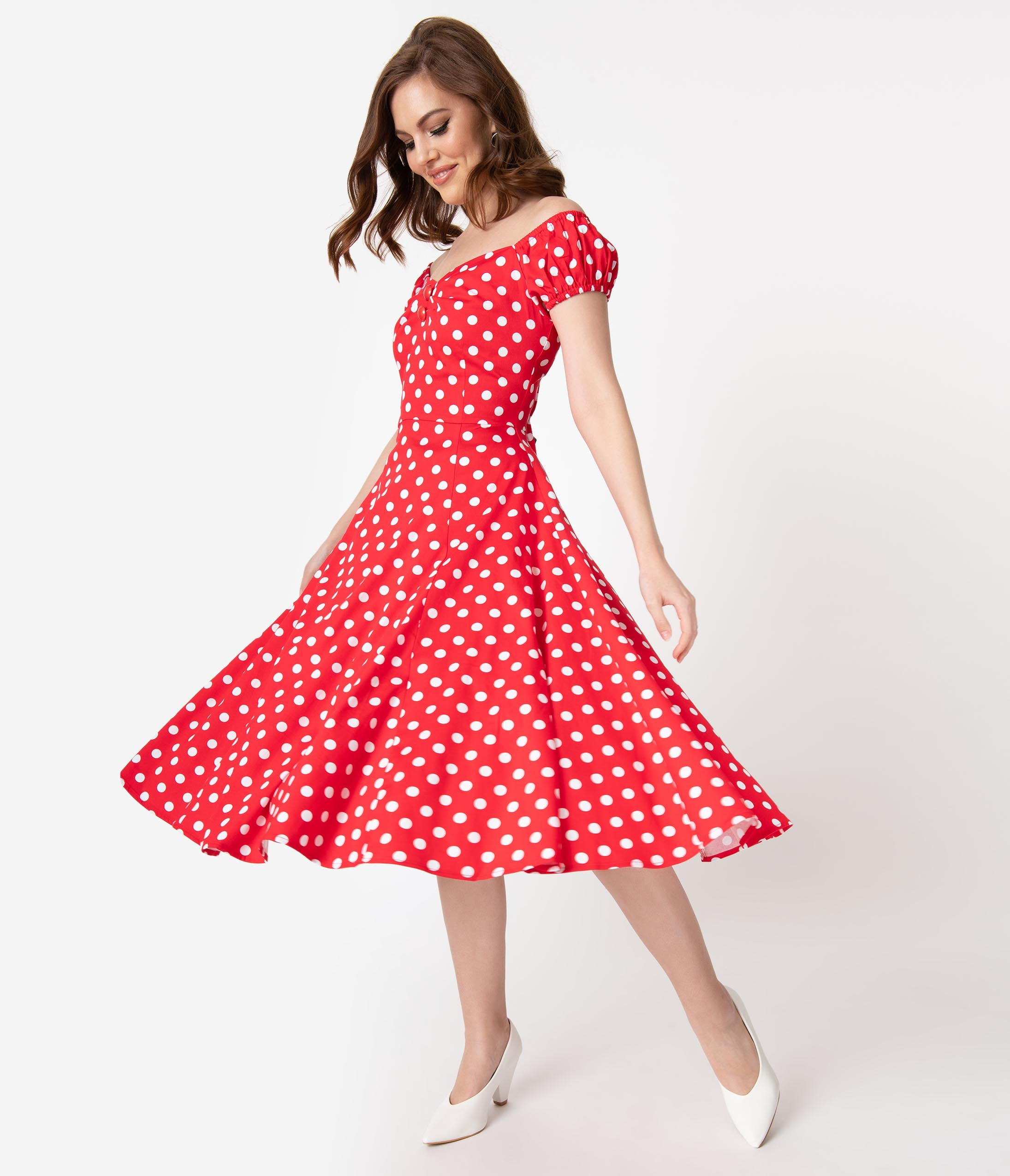 Rockabilly Dresses | Rockabilly Clothing | Viva Las Vegas Collectif 1950S Style Red  White Polka Dot Dolores Swing Dress $68.00 AT vintagedancer.com