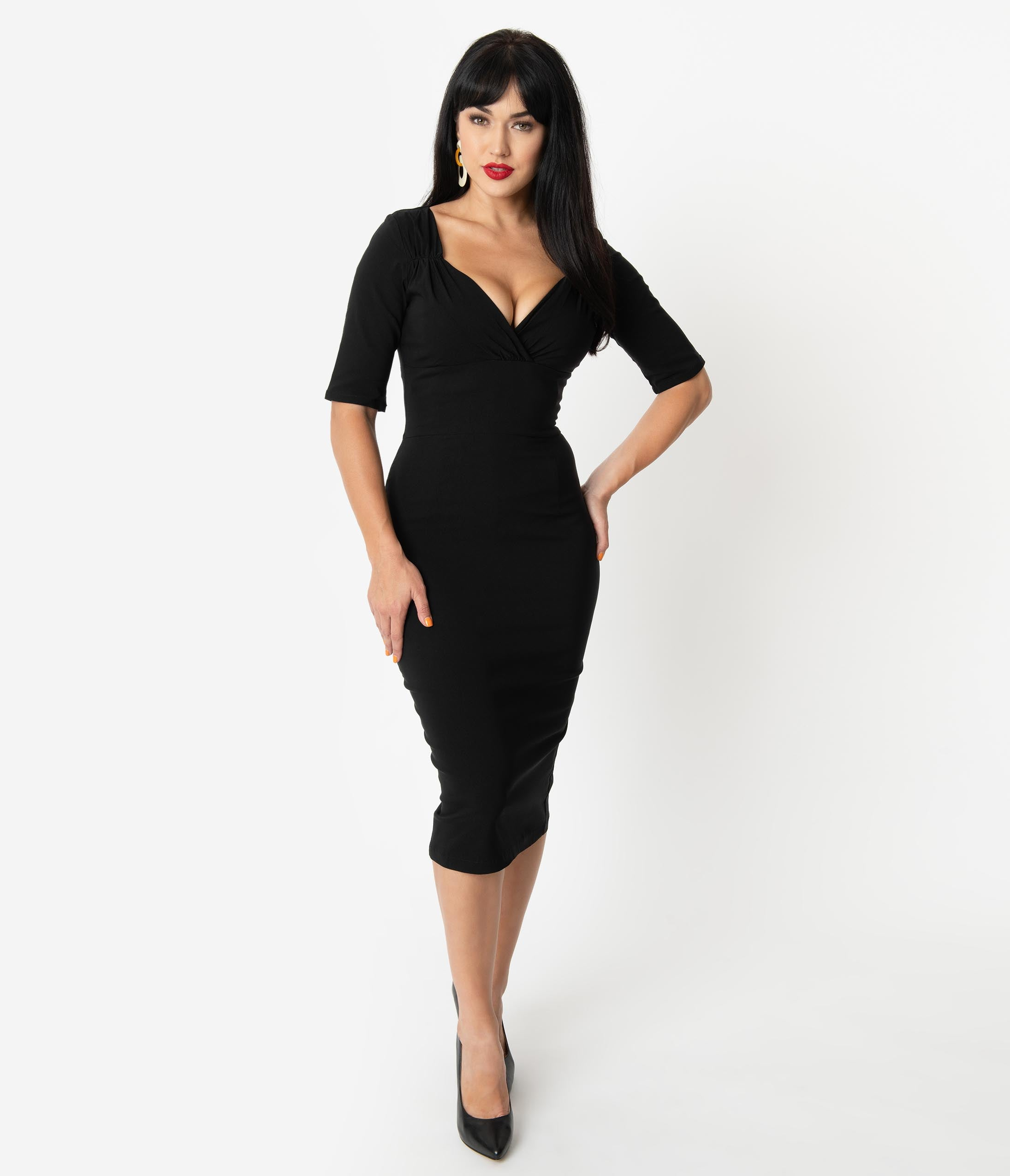 Rockabilly Dresses | Rockabilly Clothing | Viva Las Vegas Collectif 1960S Style Black Bengaline Trixie Pencil Dress $58.00 AT vintagedancer.com