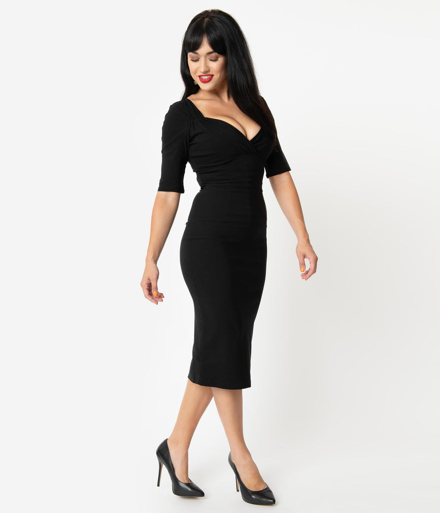 Collectif 1960s Style Black Bengaline Trixie Pencil Dress