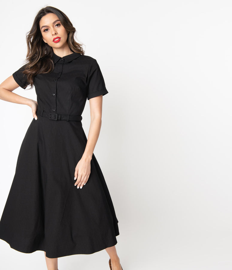 Collectif 1950s Style Black Short Sleeve Keira Swing Dress