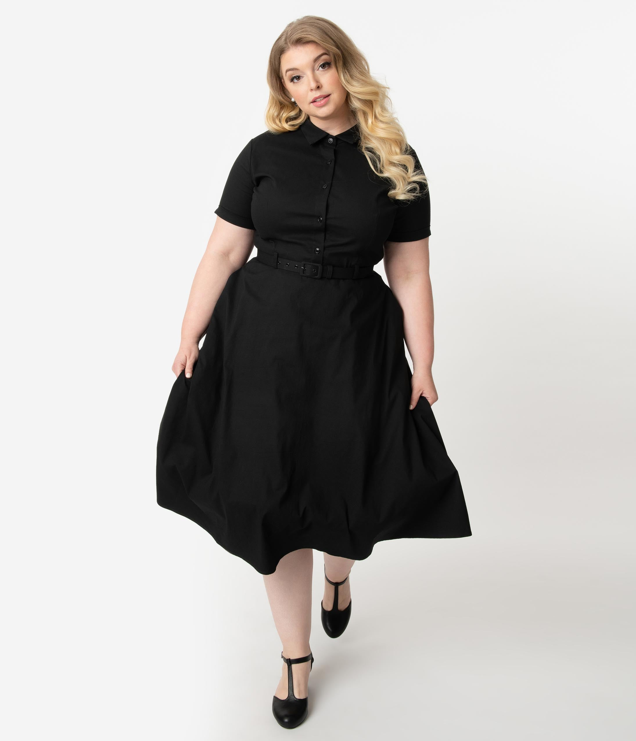 Pin Up Dresses | Pinup Clothing & Fashion Collectif Plus Size Black Stretch Off The Shoulder Sasha Fishtail Wiggle Dress $68.00 AT vintagedancer.com