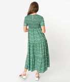 Green & Ivory Floral Print Smocked Midi Dress