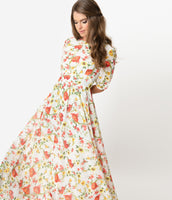 Modest Chiffon Floral Print Elbow Length Sleeves Vintage Gathered Back Zipper Fitted Maxi Dress