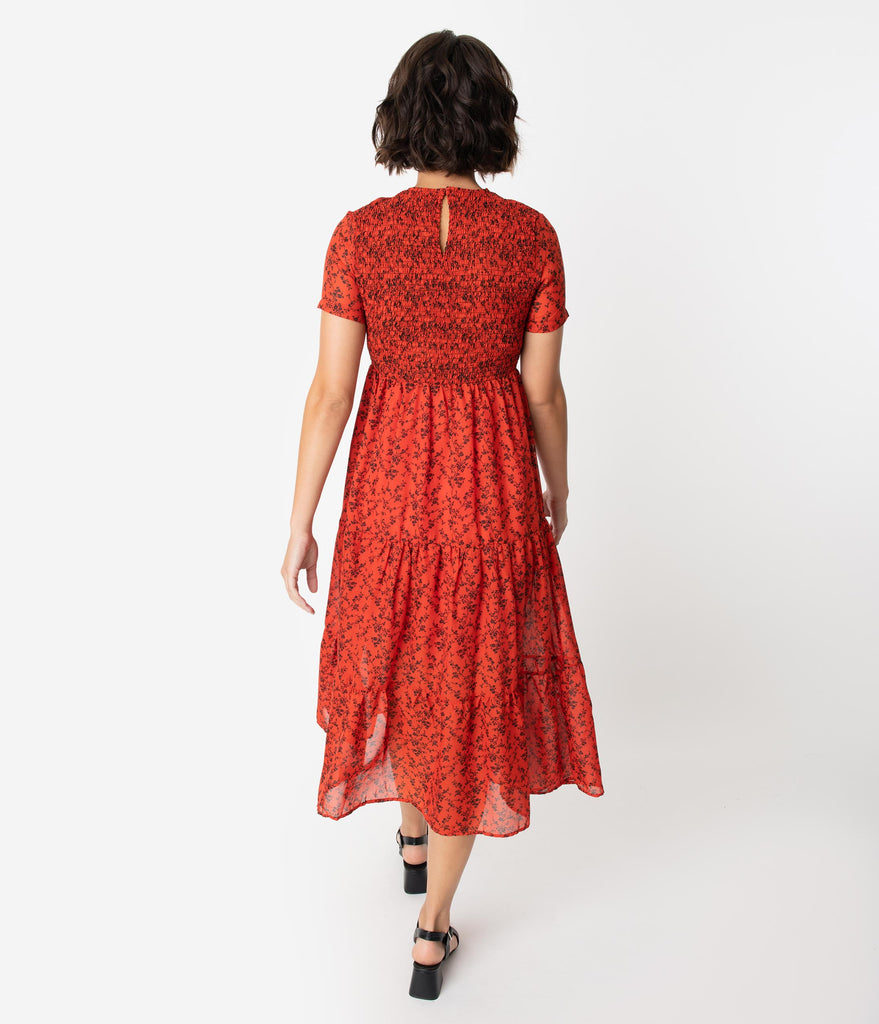 Red & Black Floral Print Smocked Midi Dress