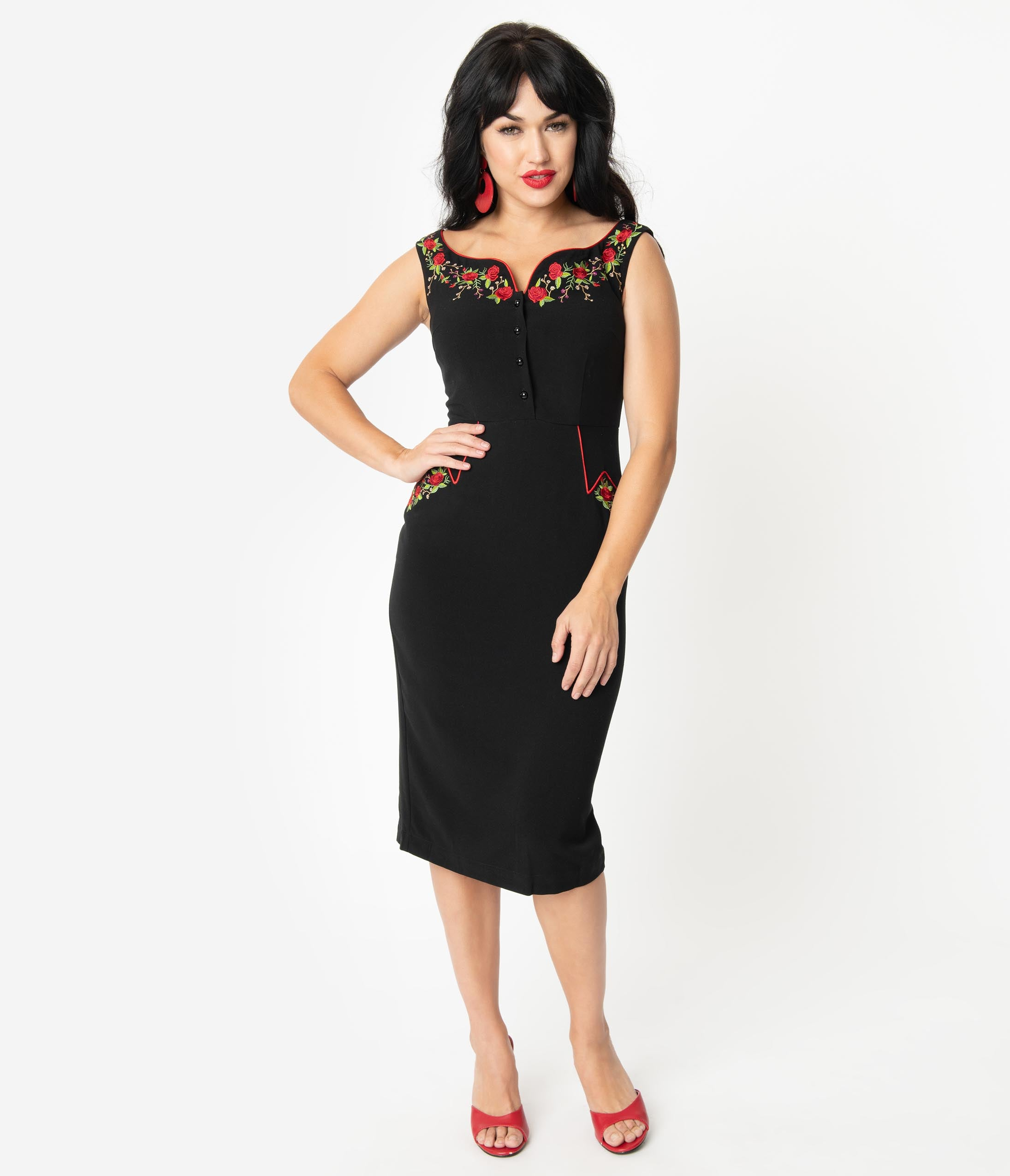 Rockabilly Dresses | Rockabilly Clothing | Viva Las Vegas Voodoo Vixen Black  Red Embroidered Floral Sleeveless Pencil Dress $82.00 AT vintagedancer.com