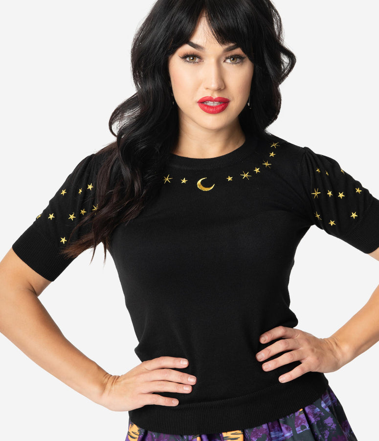 Voodoo Vixen Black & Gold Embroidered Stars & Moon Knit Sweater