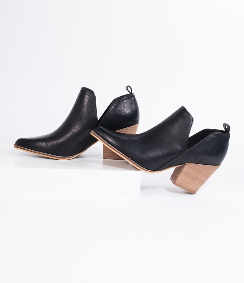 Black Leatherette Vented Stacked Heel Booties
