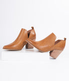 Camel Tan Leatherette Vented Stacked Heel Booties