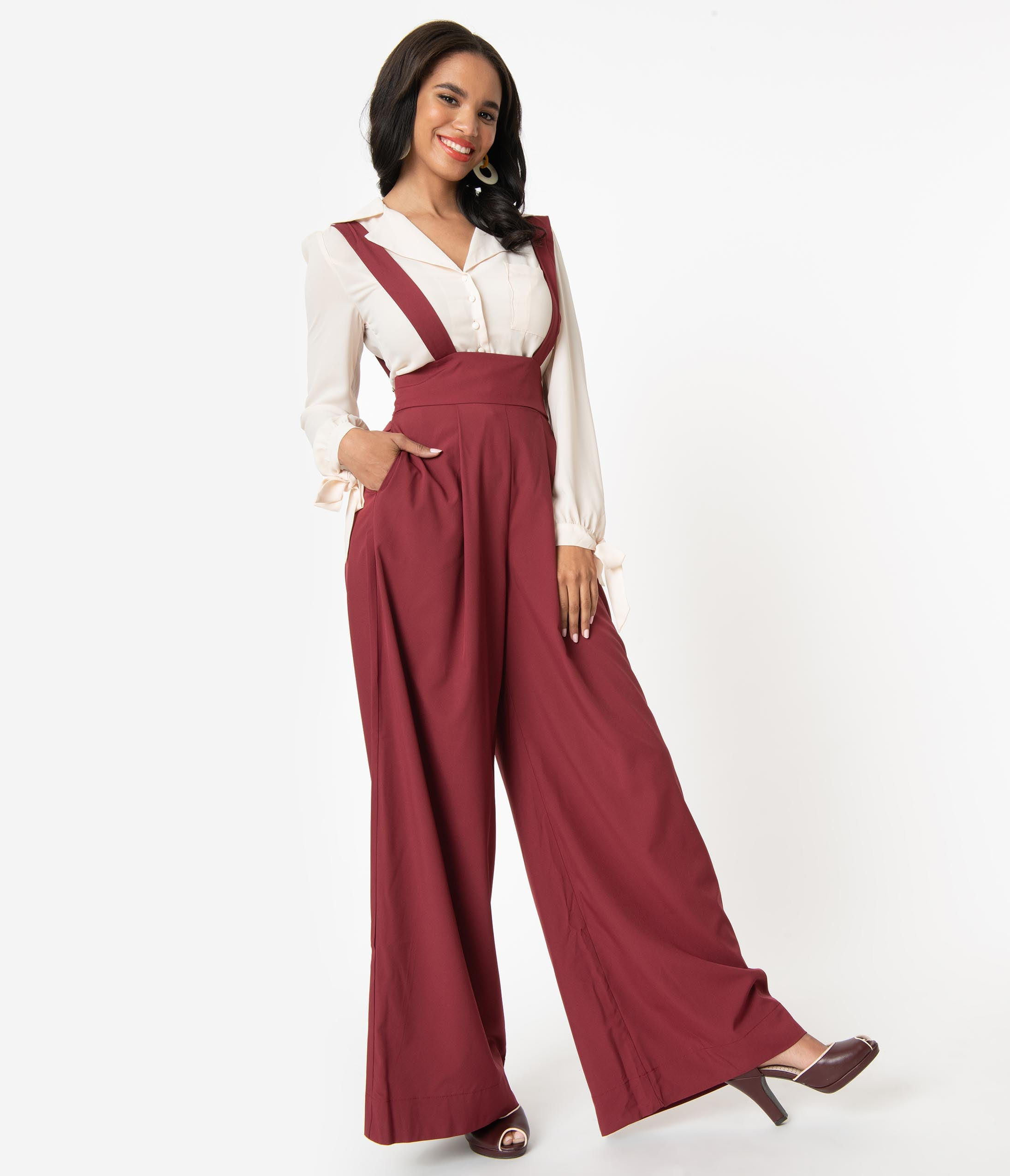1940s Swing Pants & Sailor Trousers- Wide Leg, High Waist Unique Vintage Merlot Red High Waist Rochelle Suspender Pants $64.00 AT vintagedancer.com