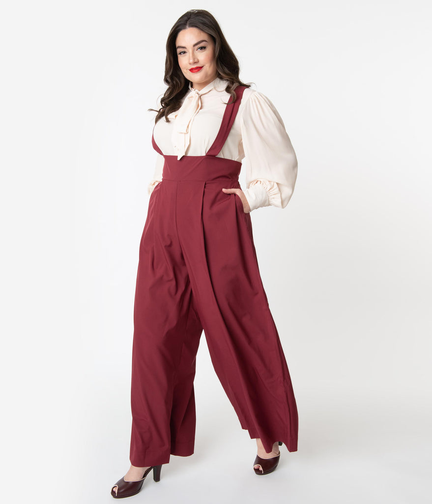 Unique Vintage Plus Size Merlot Red High Waist Rochelle Suspender Pants