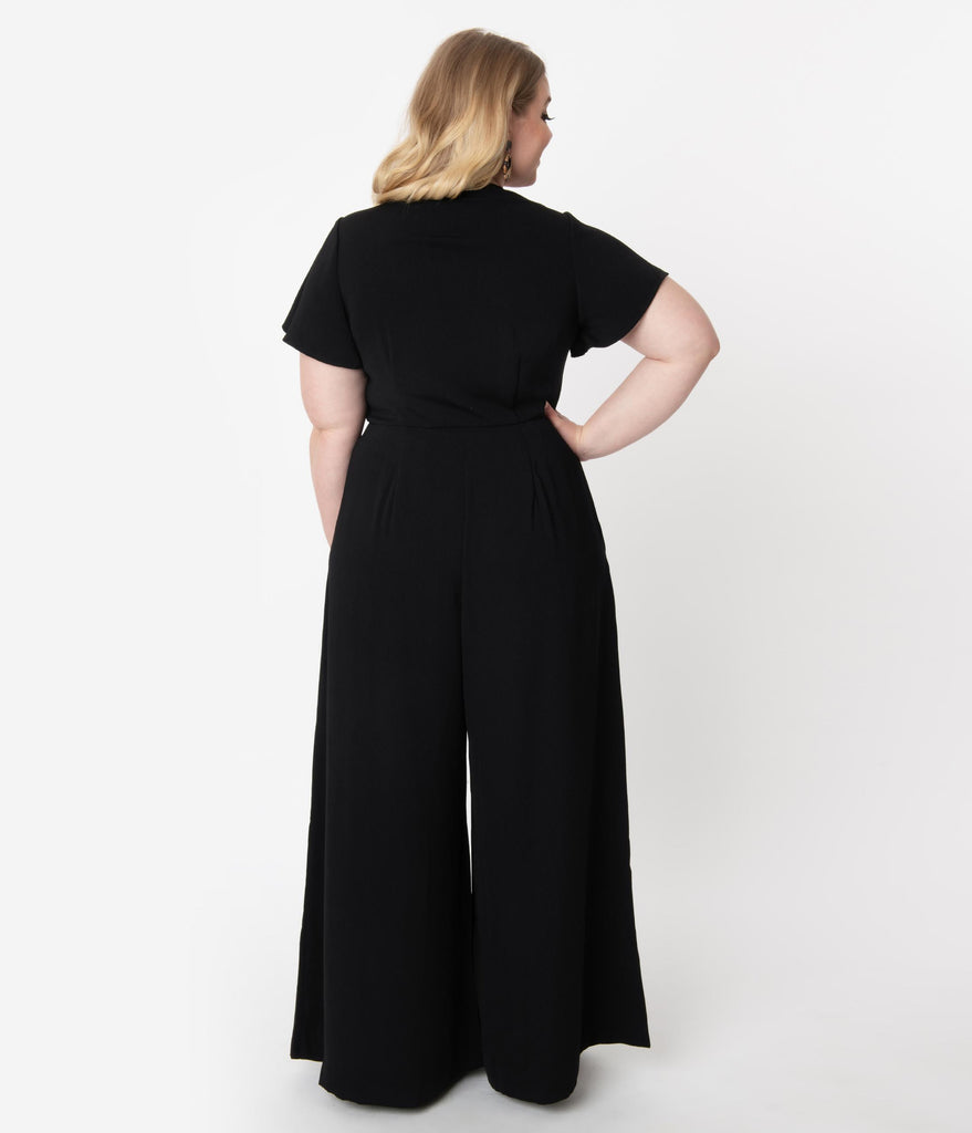 Unique Vintage Plus Size 1960s Black Short Sleeve Orleans Jumpsuit