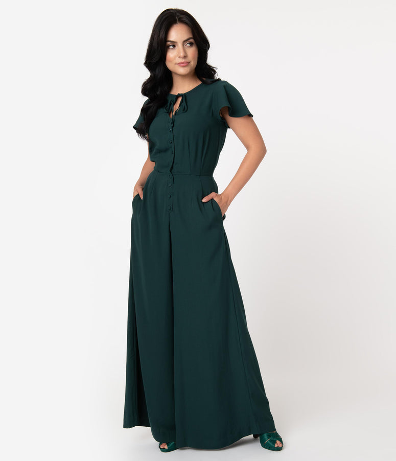 Unique Vintage 1960s Emerald Green Orleans Jumpsuit