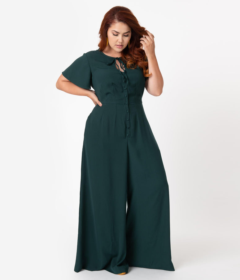 Unique Vintage Plus Size 1960s Emerald Green Orleans Jumpsuit
