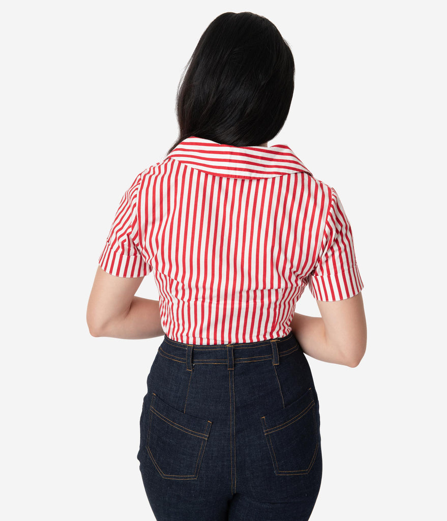 I Love Lucy x Unique Vintage White & Red Stripe Little Ricky Blouse