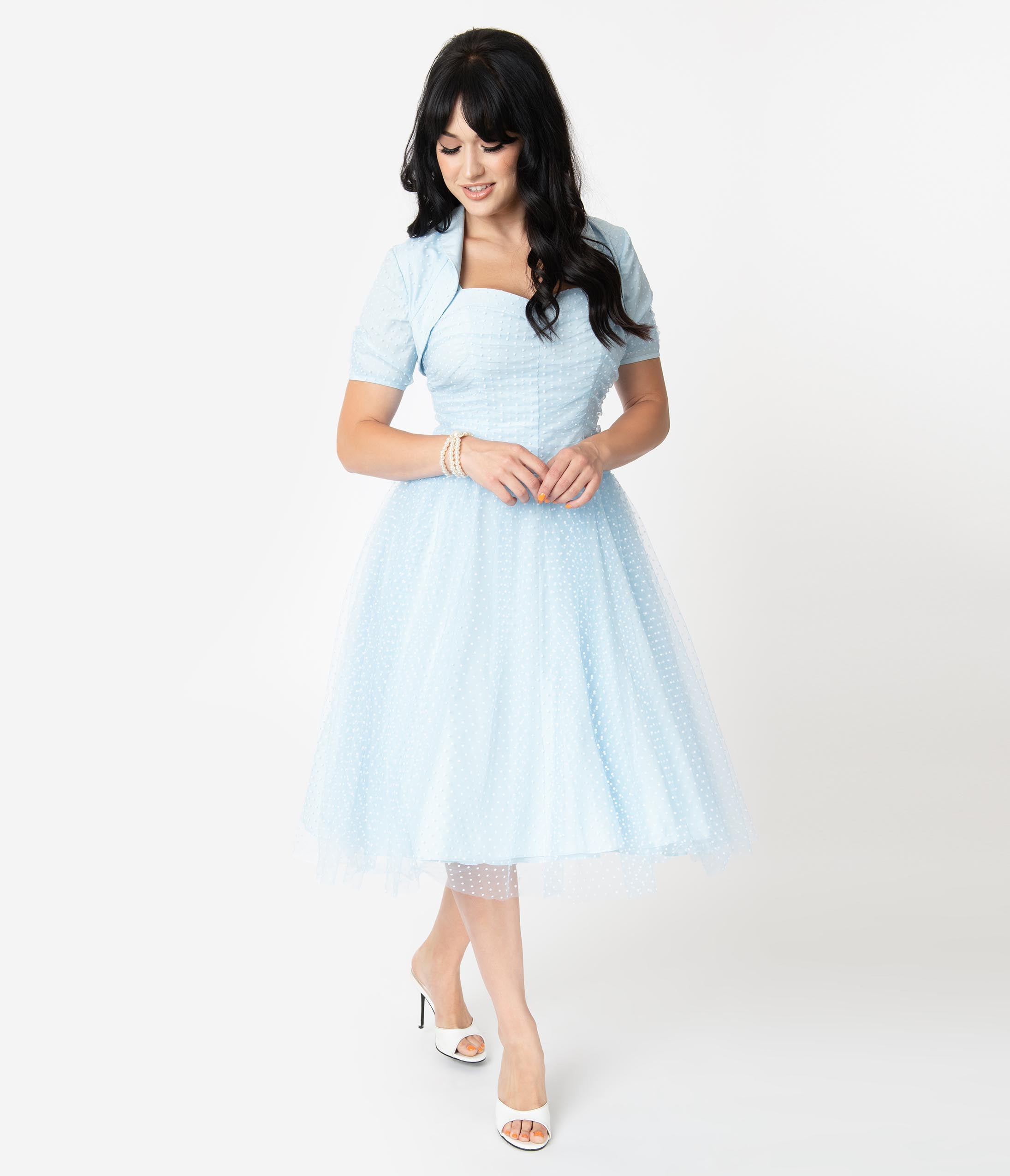 1950s Cocktail Dresses, Party Dresses I Love Lucy X Unique Vintage Light Blue Honeymoon Swing Dress $148.00 AT vintagedancer.com