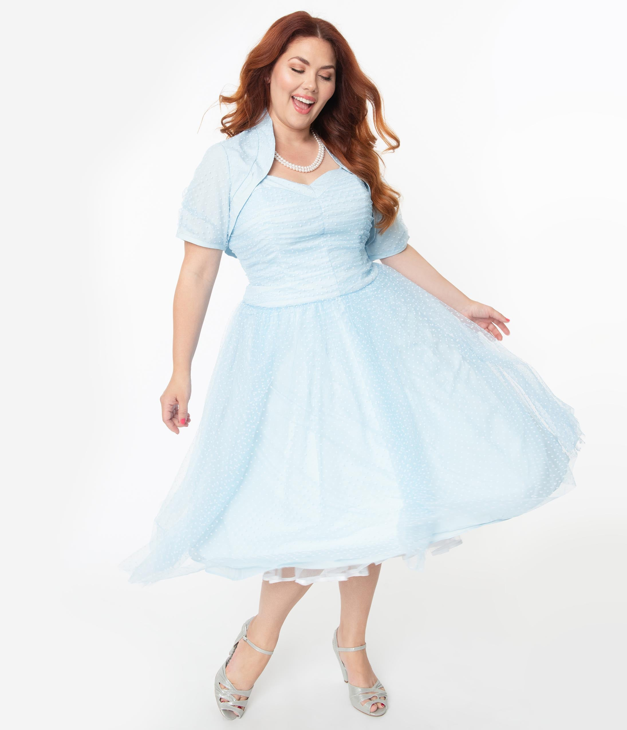 1950s Plus Size Dresses, Swing Dresses I Love Lucy X Unique Vintage Plus Size Light Blue Honeymoon Swing Dress $148.00 AT vintagedancer.com